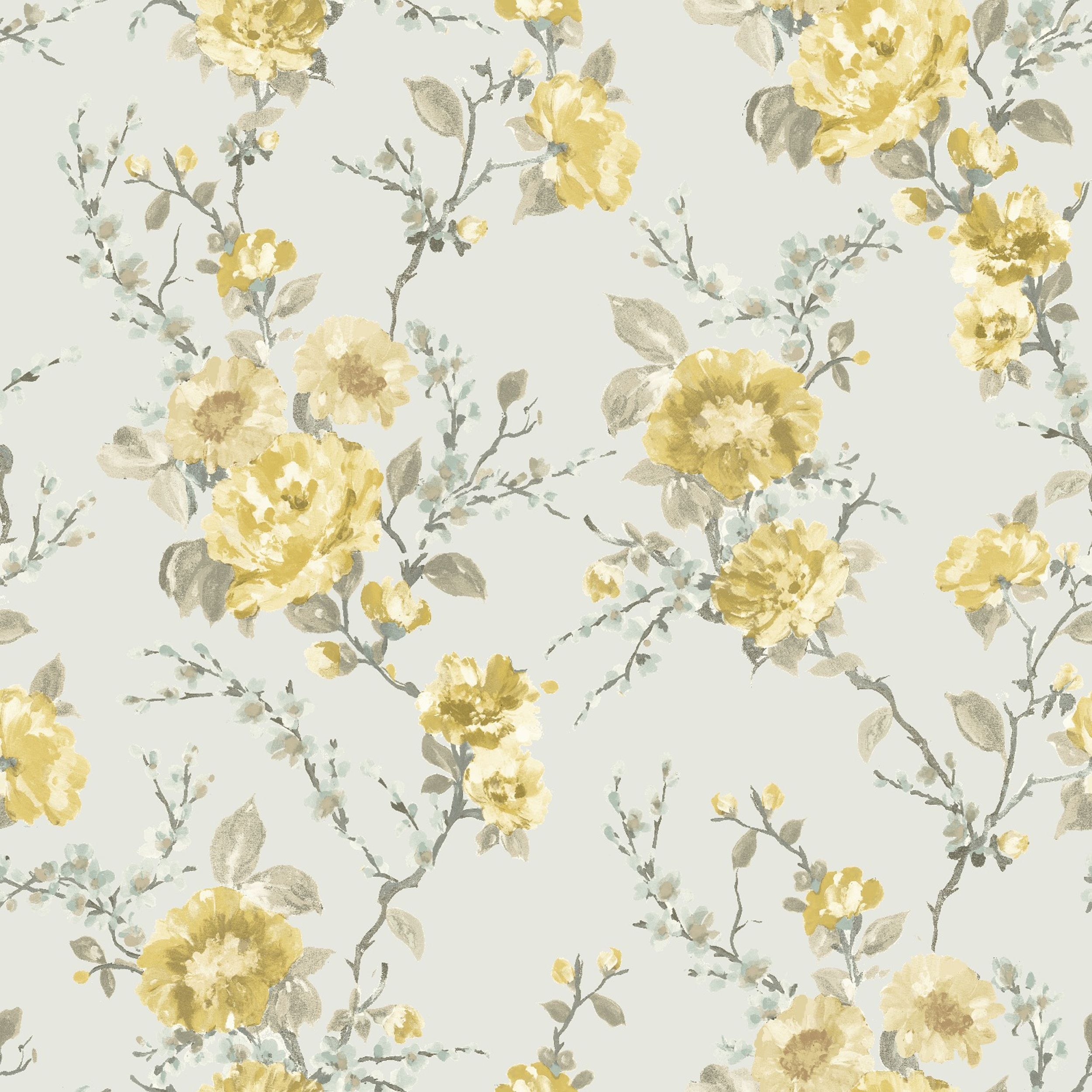 Lucy Duck Egg & Yellow Floral Wallpaper Departments