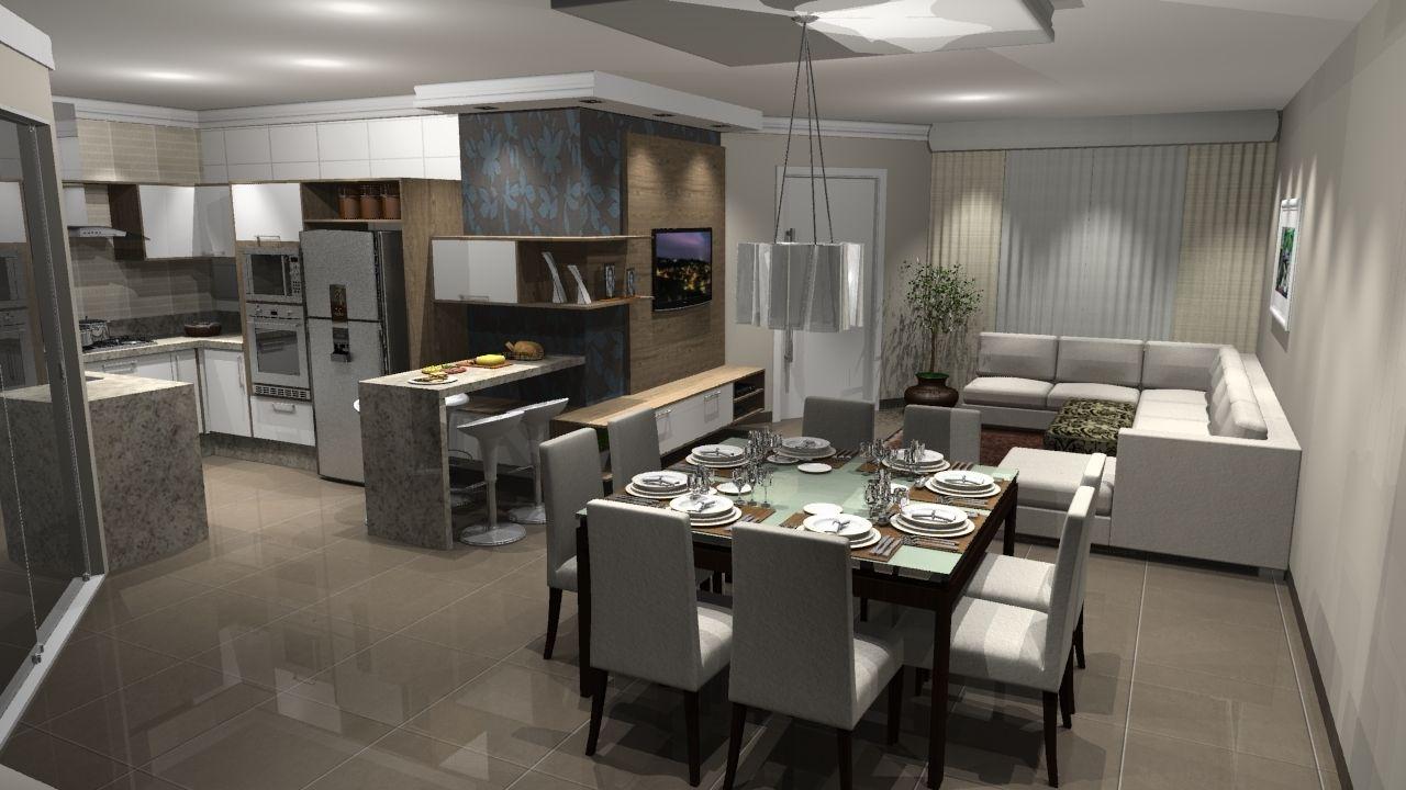 sala de estar conjugada com cozinha e sala de jantar  Pesquisa Google