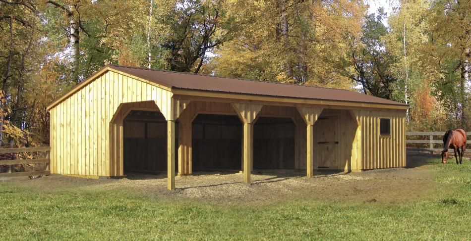 Run in l shaped horse barn with storage horse barns for L shaped shed