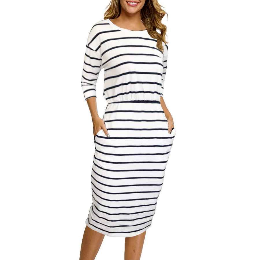 Casual Dresses Moyabo 3 4 Sleeve Round Neck Hips Wrapped Casual Office Pencil Dress Shop Casual Dresses Casual Dresses For Women Casual Dresses [ 900 x 900 Pixel ]