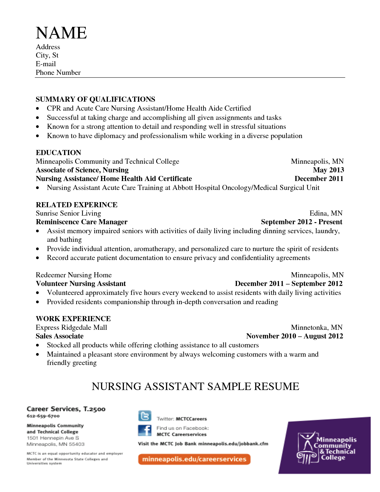 Home Health Nursing Assistant Resume Sample resume Pinterest