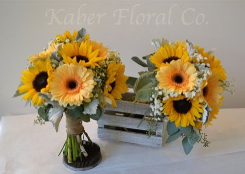 Sunflowers and Yellow Gerbera Daisies Bridesmaids Bouquets