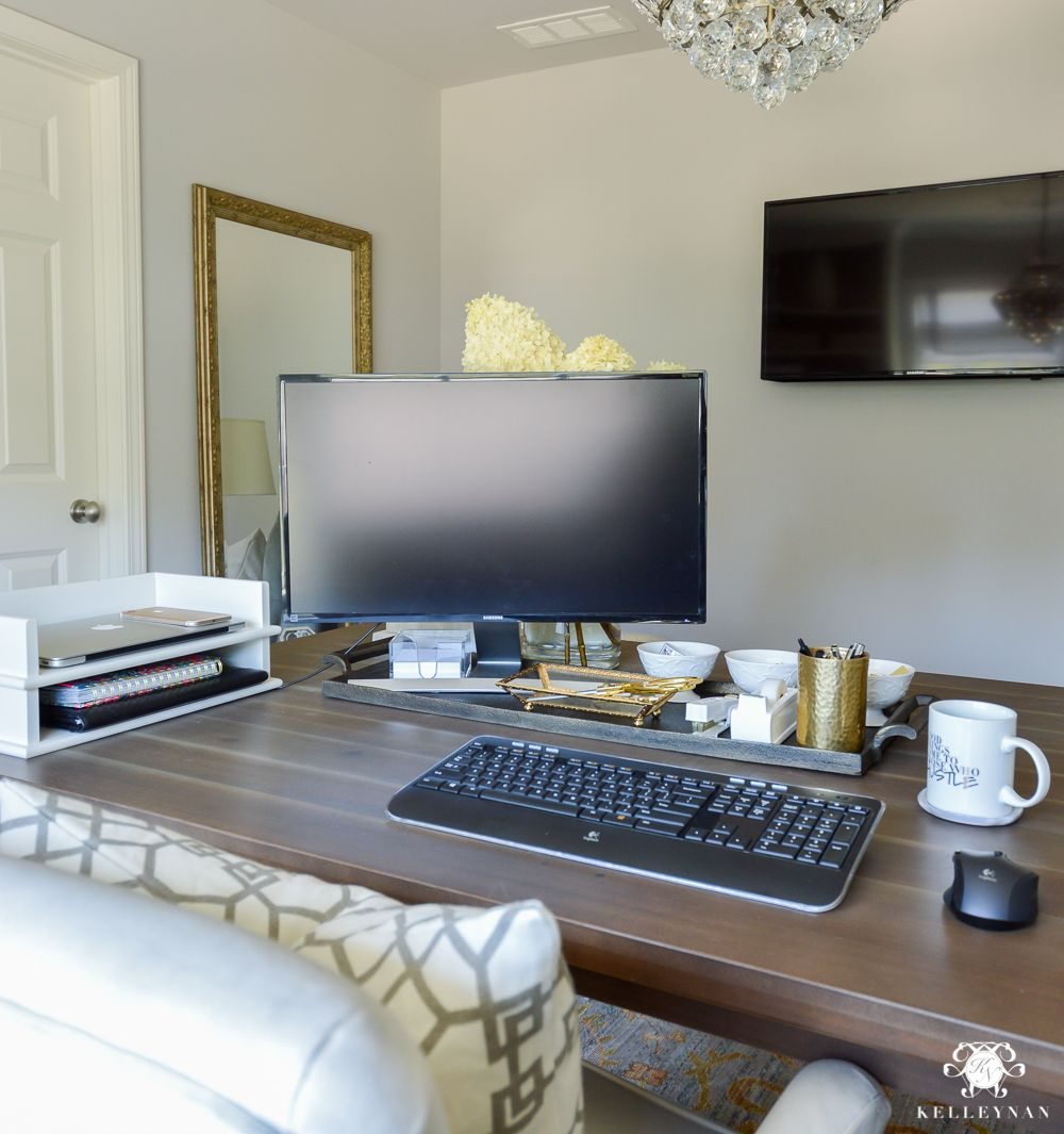How To Hide Computer Cords With A Desk In The Center Of
