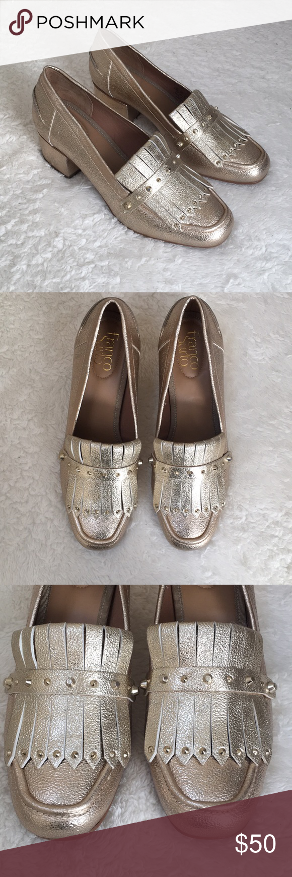 21b867775ae New Franco Sarto Lauryn block heel loafers 8.5 New without tags Franco  Sarto Lauryn gold metallic block heels. Never worn- no scratches or other  defects.