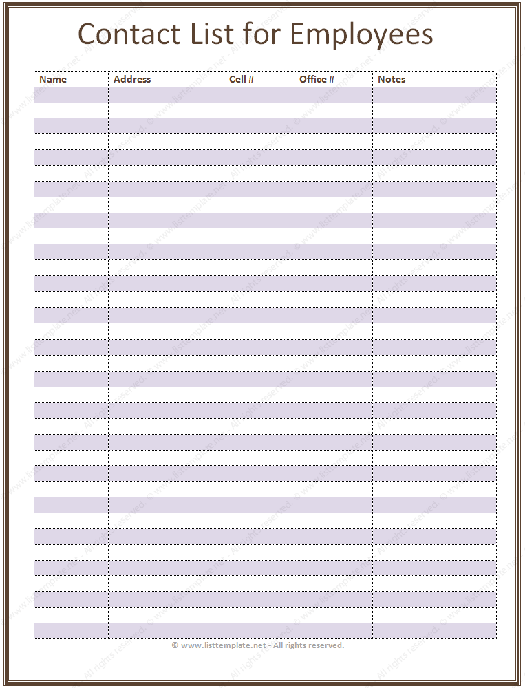 Employee Contact List Template In A Basic Format  Office Space