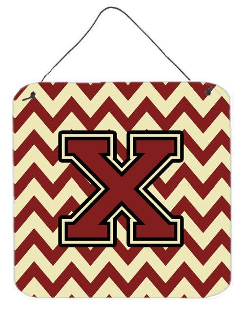 Letter X Chevron Maroon and Gold Wall or Door Hanging Prints CJ1061-XDS66