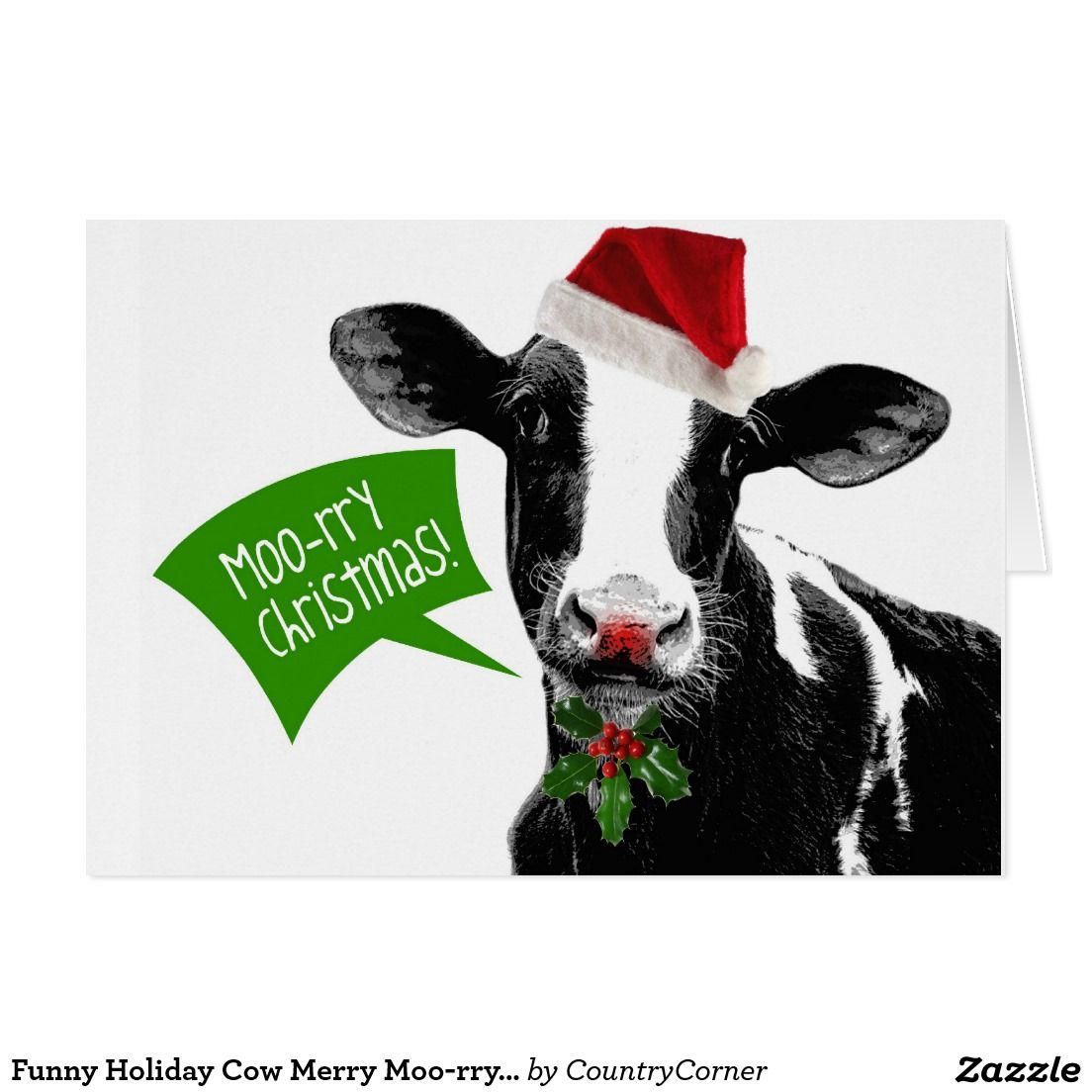 Funny Holiday Cow Merry Moo-rry Christmas Card | Season Greeting ...