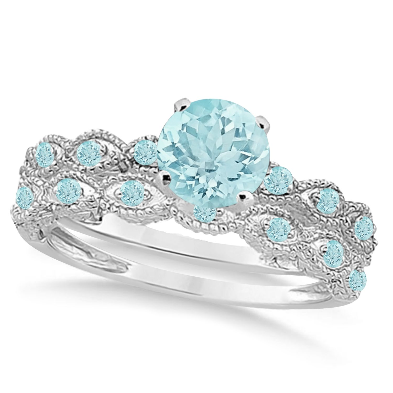 Vintage Aquamarine Engagement Ring Bridal Set Platinum (1.36ct)