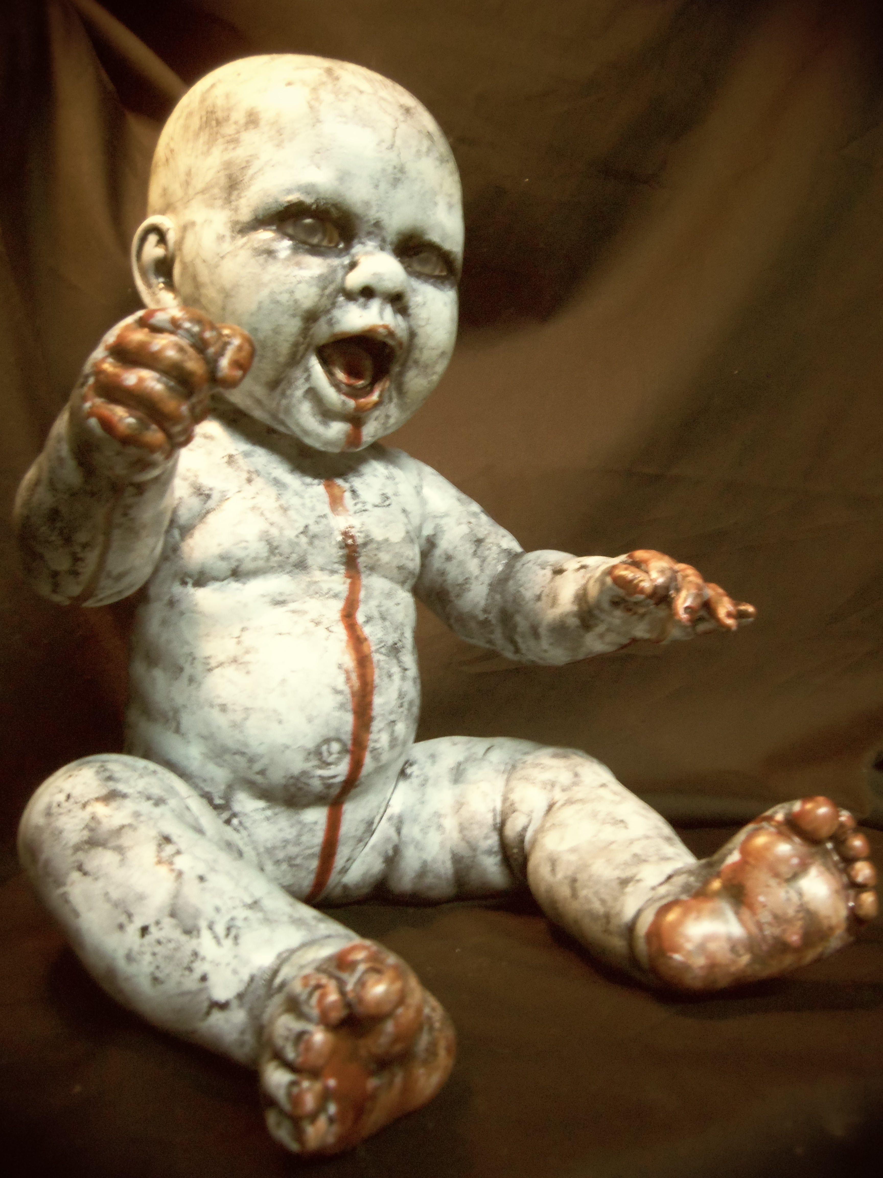 Zombie baby doll Creepy baby dolls, Scary dolls