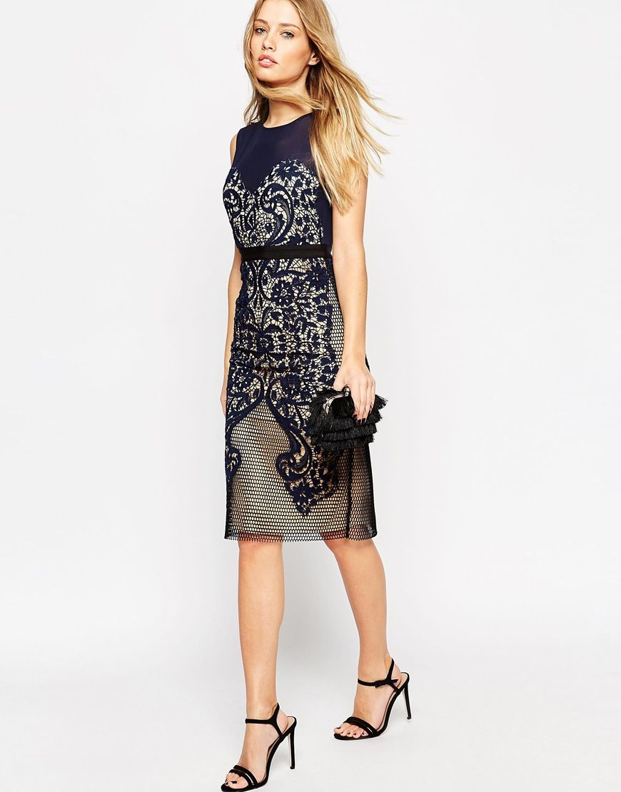 c49862536f7c ASOS Lace Embroidered Panelled Midi Bodycon Dress