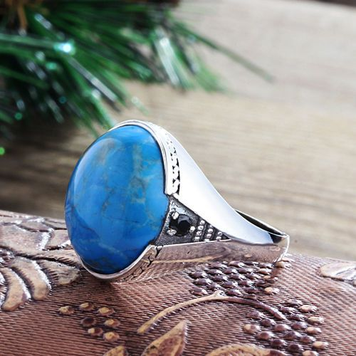 Ring Mens 925 K Silver Blue Natural Turquoise Gemstone Ring Mans 6-14 US sizes #Mensring #Sterlingsilverring #Manssilverring #Silverring #Turquoisering #SolitairewithAccents