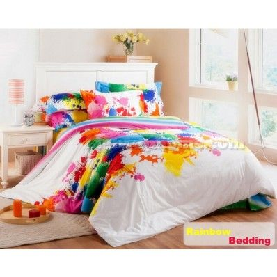 Rainbow Printed Cotton Full Queen King Size Bedding Colorful Bedding Sets Bedding Sets Colorful Bedding