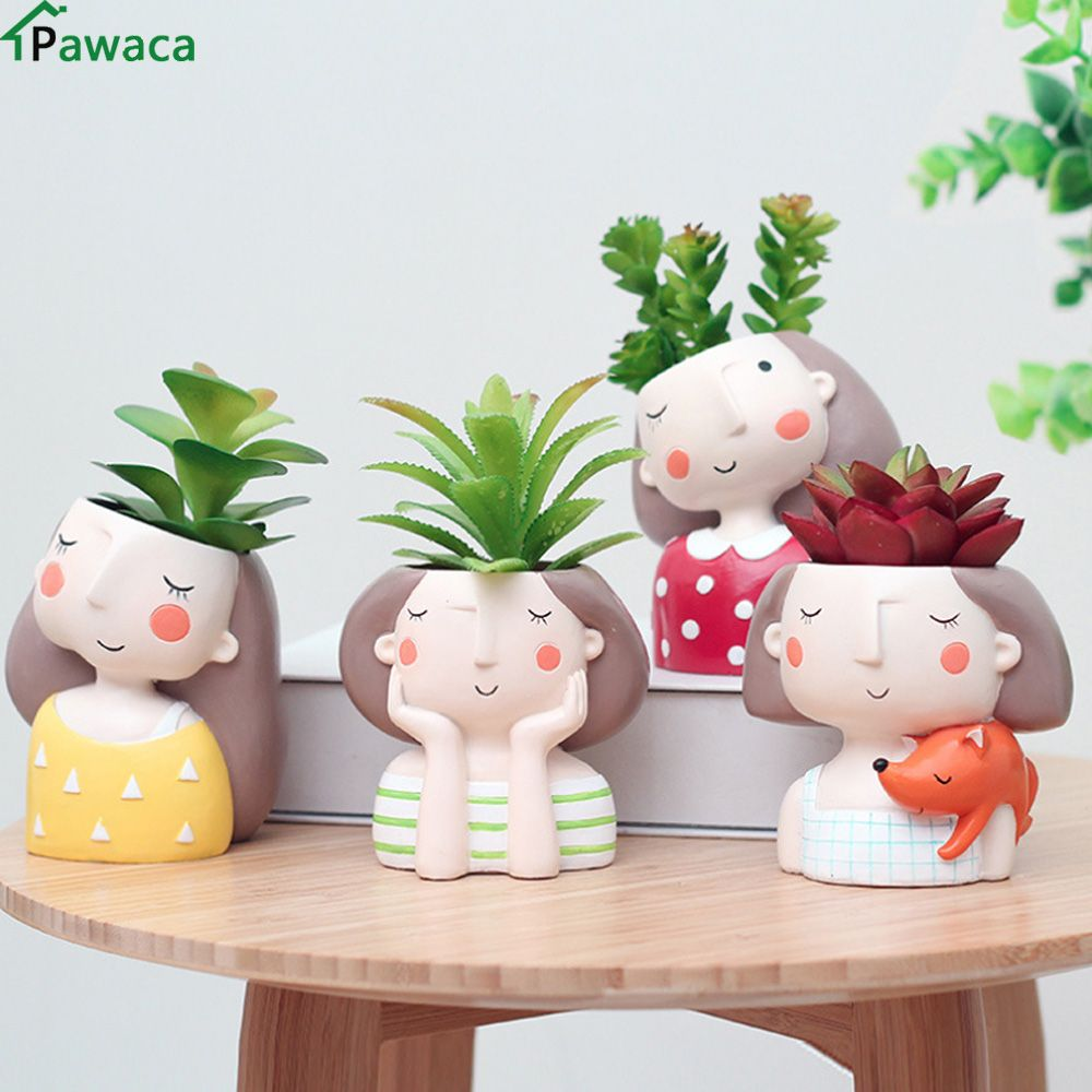 office flower pots. cute girl flower pot for succulents fleshy plants flowerpot ceramic small mini home/garden/ office pots c