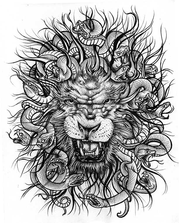 Medusa Lion. Ink on paper 8x10. Medusa tattoo, Lion