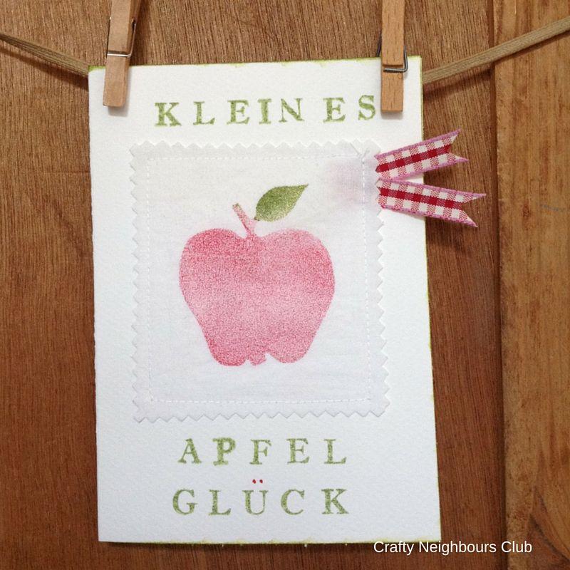 Apfelliebe-Grußkarte mit Apfelprint