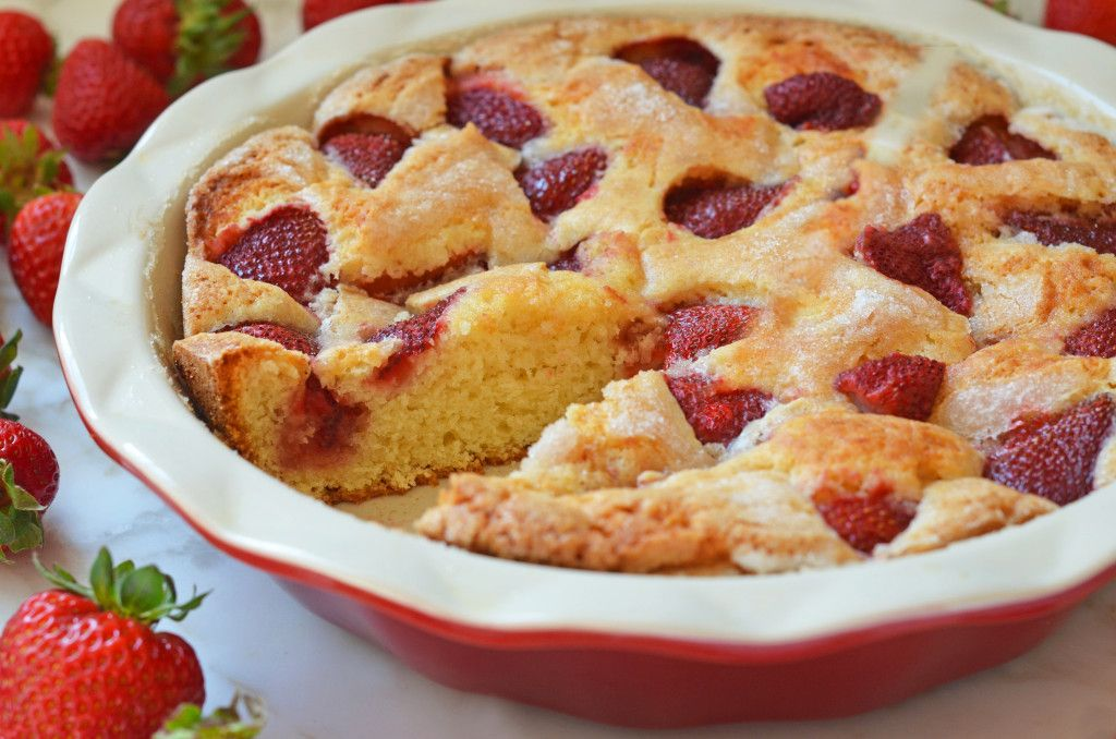 TESTED & PERFECTED RECIPE - This strawberry cake, made with very few ingredients, is a great way to use up extra strawberries and keeps nicely for days.