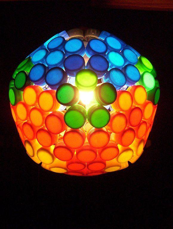 Como hacer una lámpara con tapas de gaseosa  b2bdd80ccfe6