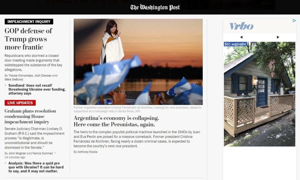 """La mirada del Washington Post sobre las elecciones 2019: """"La economía argentina está colapsando; ahí vienen los peronistas, otra vez"""""""