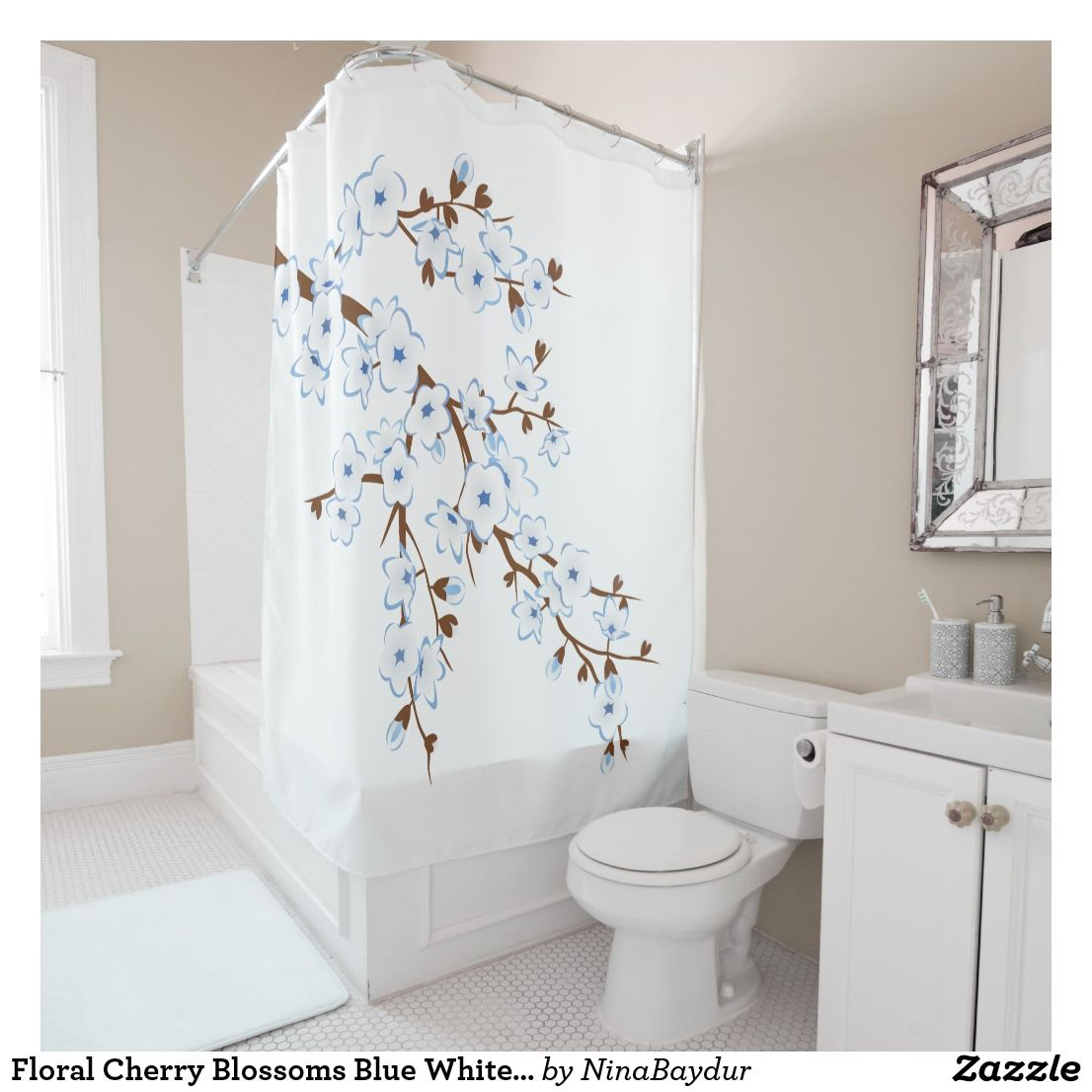 Floral Cherry Blossoms Blue White Classic Shower Curtain | Bath ...