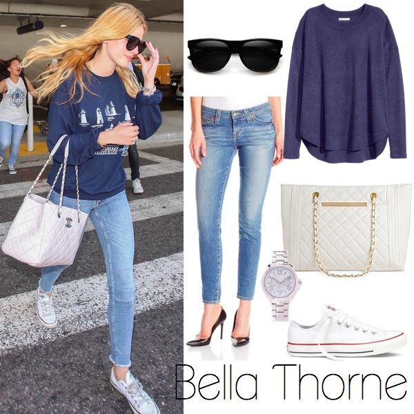 6c4ec01ce Bella Thorne's Sweatshirt, Quilted Chanel CC Tote, Converse Sneakers Look  for Less