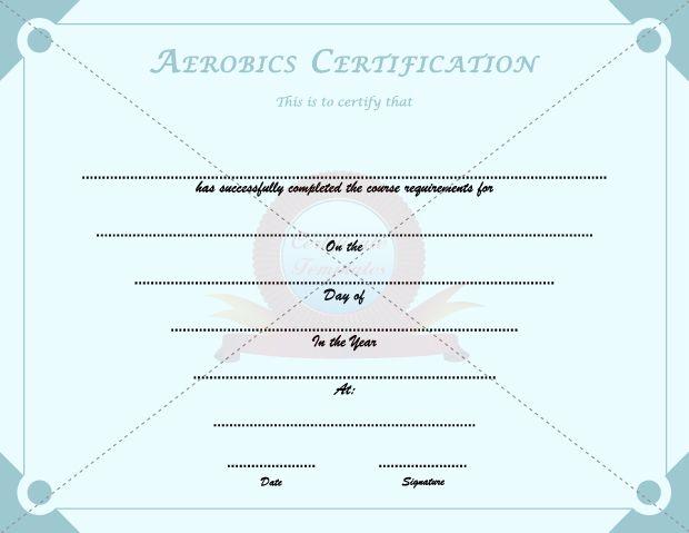 Aerobics Certification SPORTS CERTIFICATE TEMPLATES Pinterest - certification templates