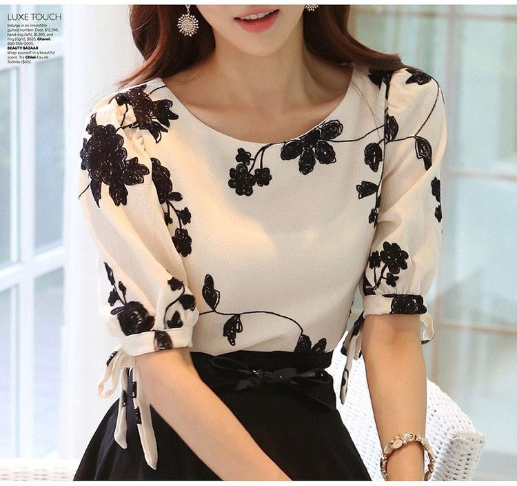 ceb3177c95d Summer Ladies Vestidos Retro Flower Print Chiffon Shirt chiffon floral  blouse Women short Sleeve Casual Brand Tops S0385