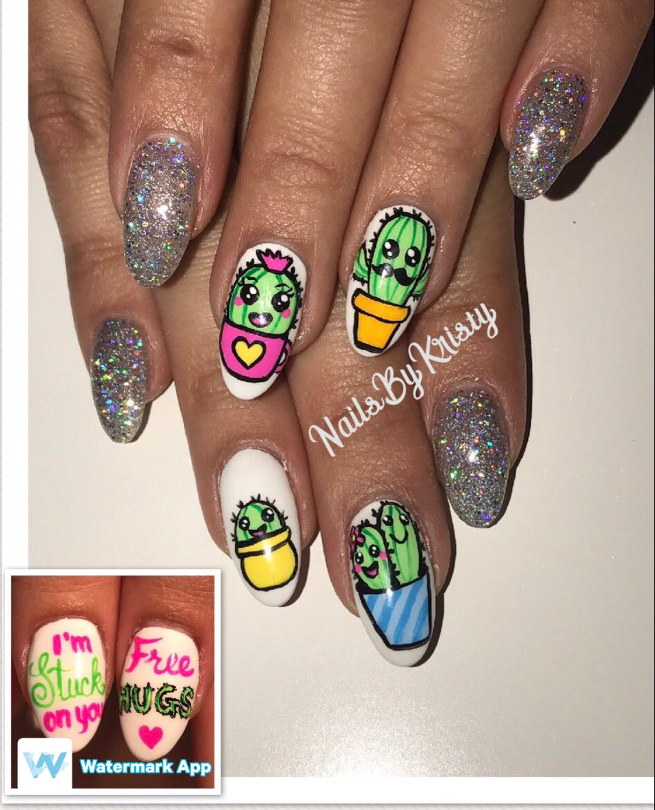 Cactus family nails hand painted | nails | Pinterest | Cacti