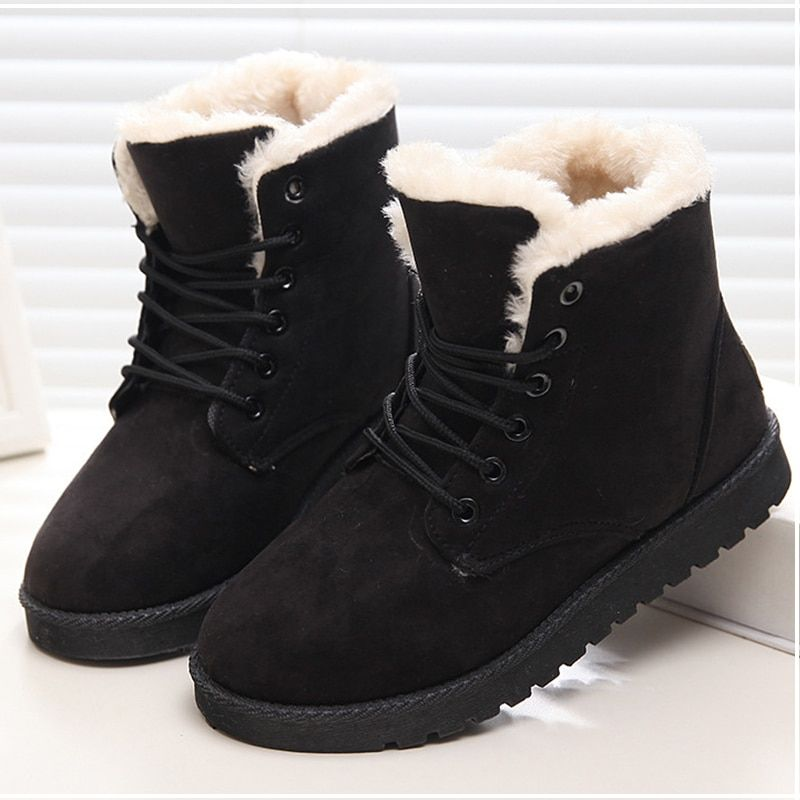 Warm winter boots women, Fur ankle boots