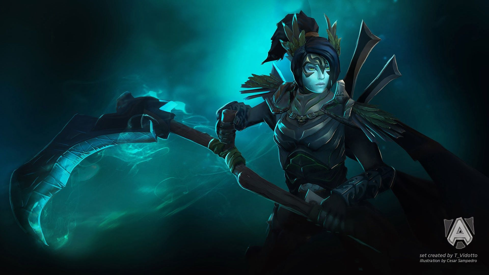 mortred dota 2 phantom assassin death scythe wallpaper hd