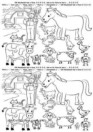 spanish farm animals cut and paste freebie