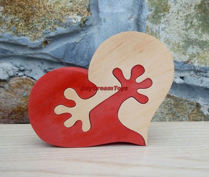 Free shipping Heart in the arms Gift to the Valentine's day Wood puzzle by DayDreamToys on Etsy