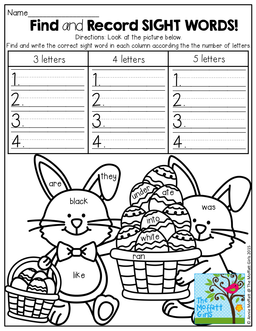 Find And Record A Hidden Sight Word Record The Sight Word According To The Number Of Letters