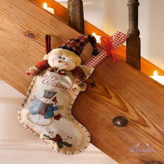 Vianočná čižma so snehuliakom, látková
