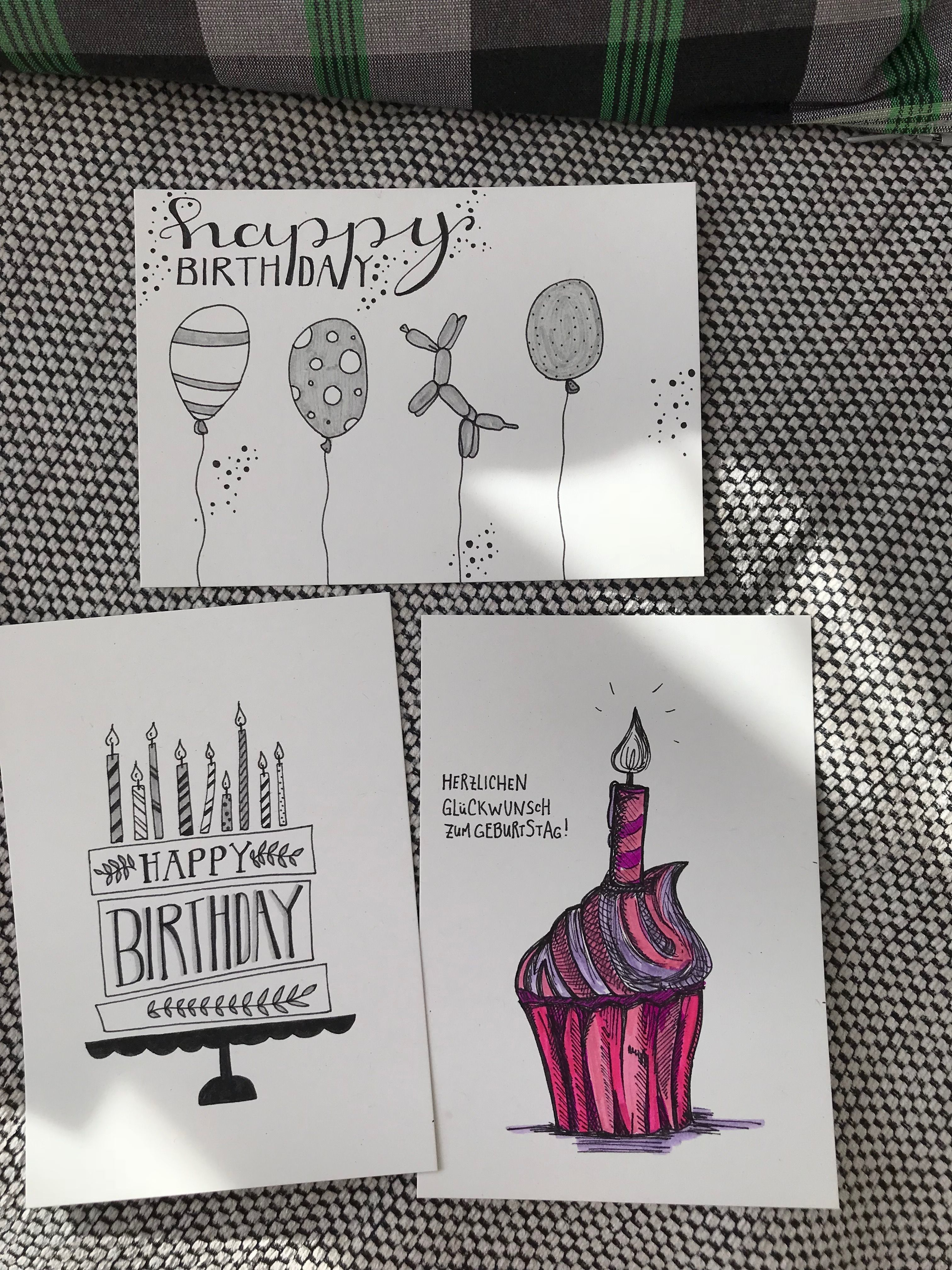 Birthdaycard Happy Birthday Geburtstagskarte Handlettering