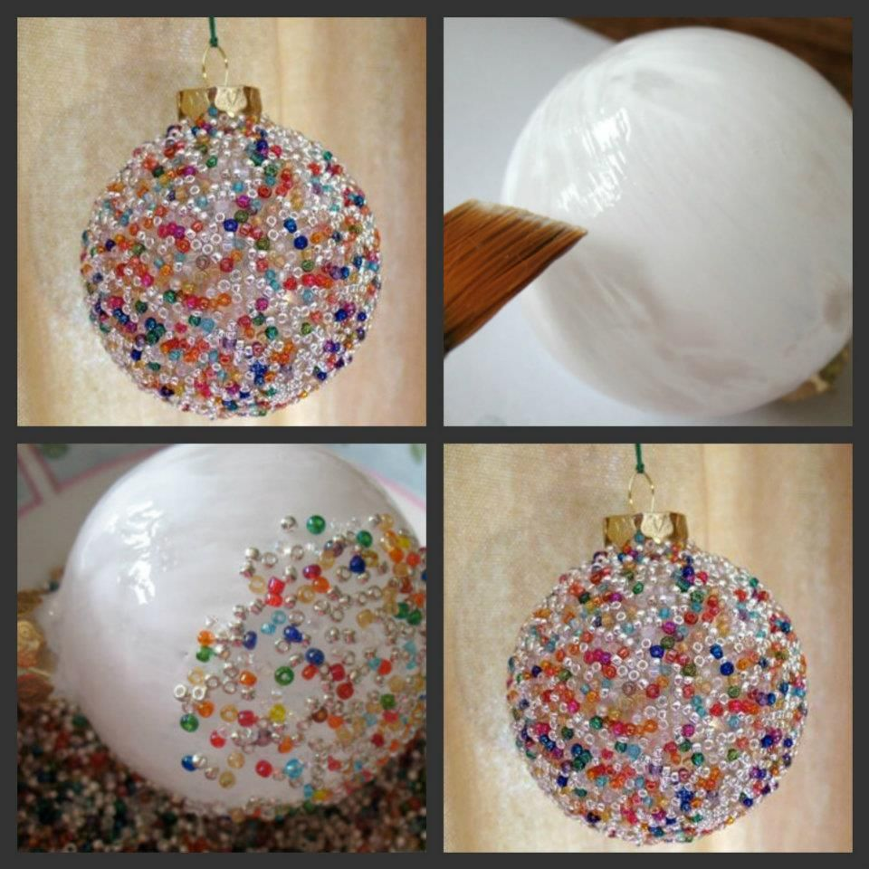 Glue for glass ornaments - Seed Bead Ornament What You Ll Need Glass Ball Ornament White Craft Glue Wide