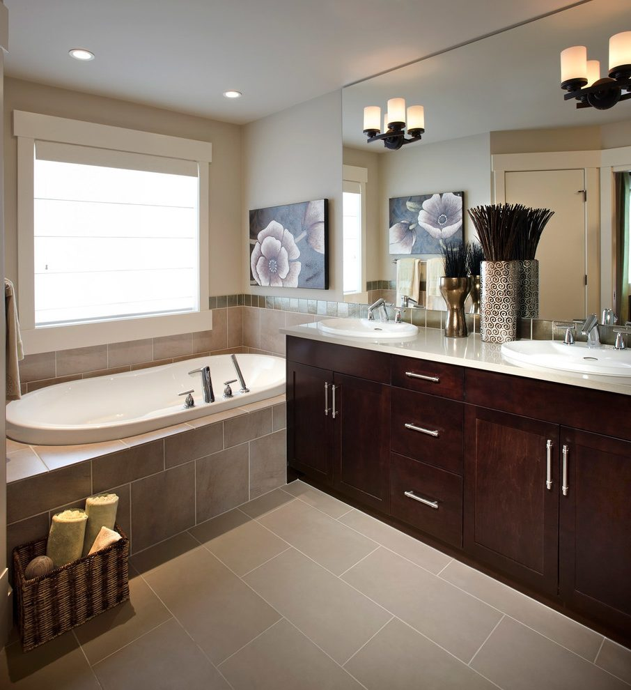calgary tile tub apron bathroom traditional with window ...