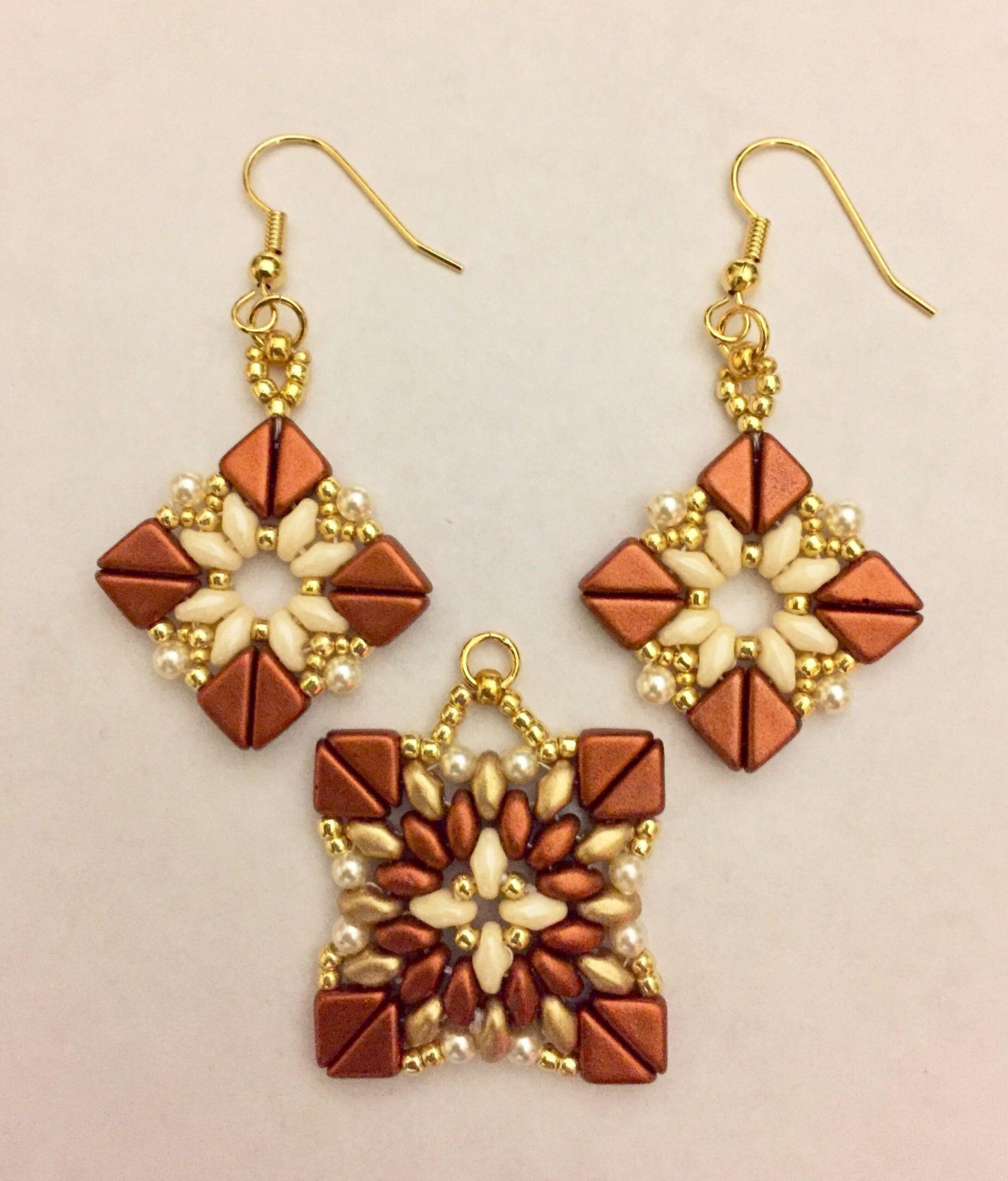 Beautiful earrings from beads: weaving patterns