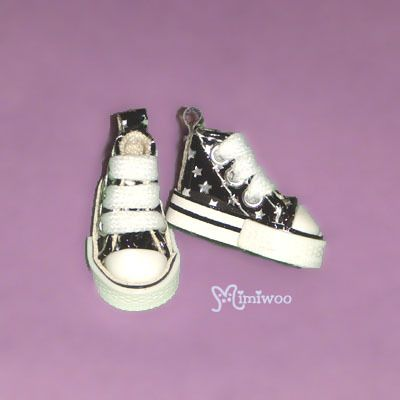 "Mimi Collection 12"" Blythe Pullip Fashion MICRO Doll Shoes Star Sneaker Black"