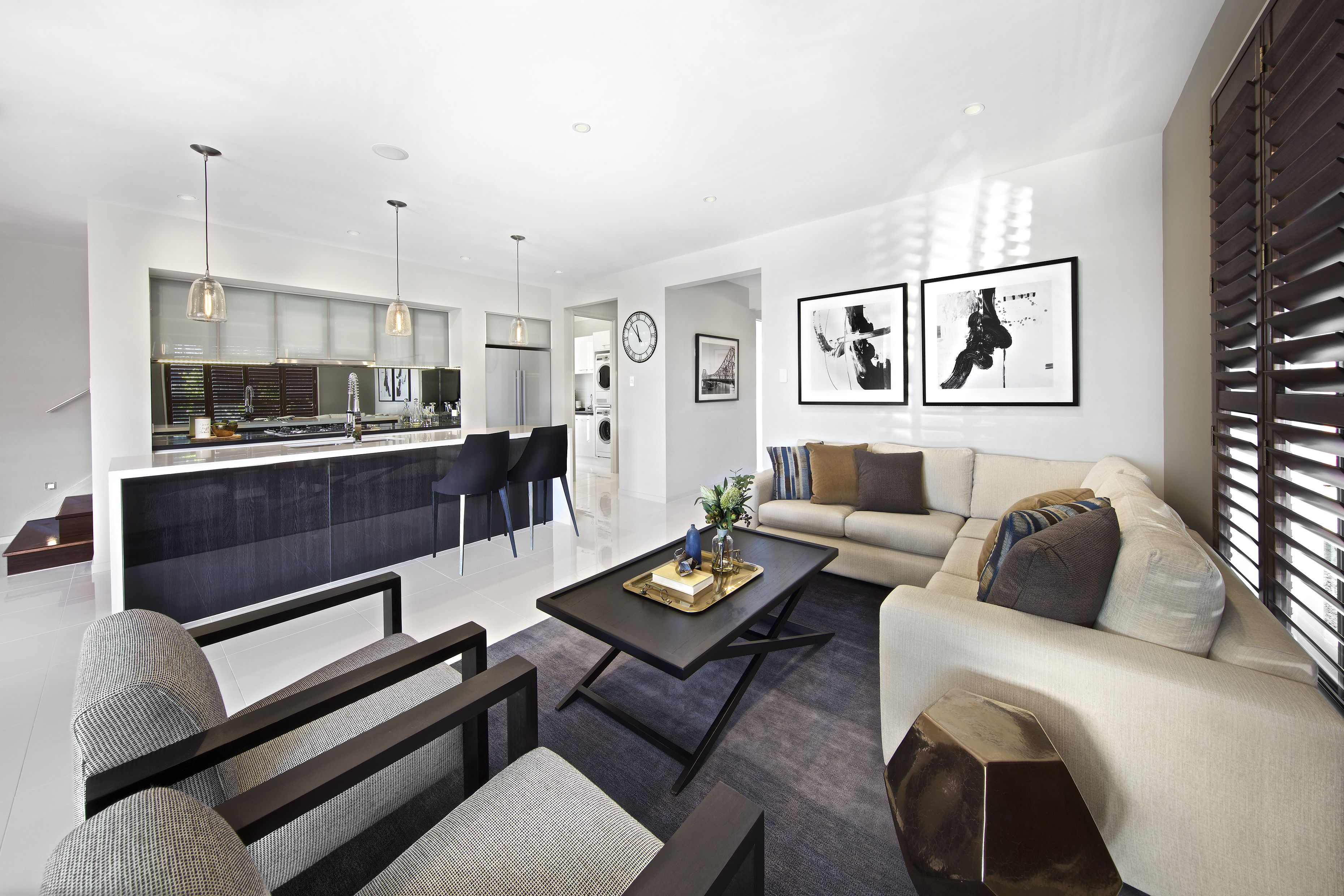 Clarendon Homes. Parkhill 34. Family room leading into the kitchen ...
