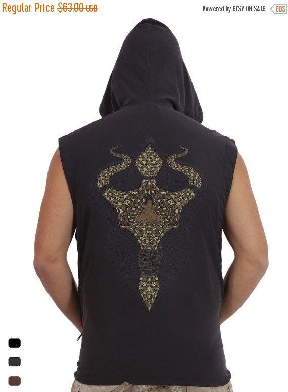 67379e20c13ac SALE 50% OFF Men s vest Screen print Hooded Vest by IIISOLIII