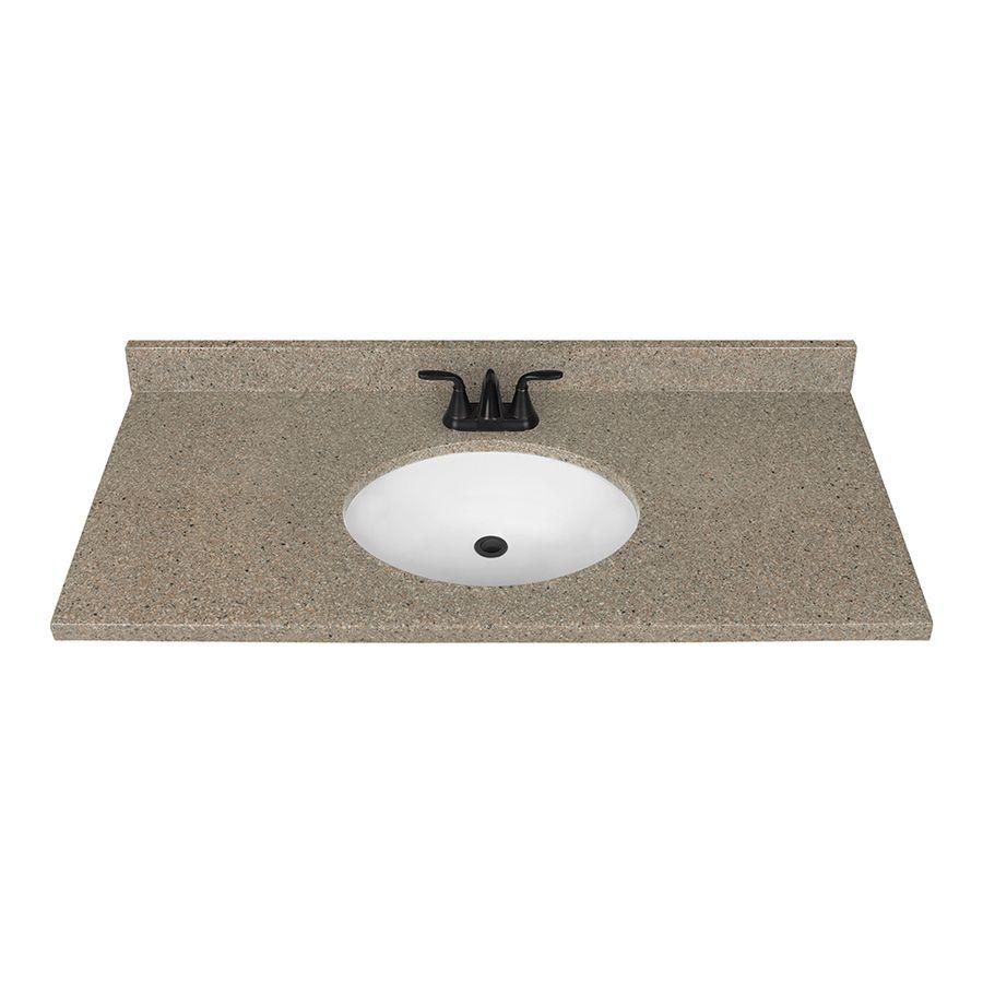 Nutmeg Solid Surface Integral Single Sink Bathroom Vanity Top