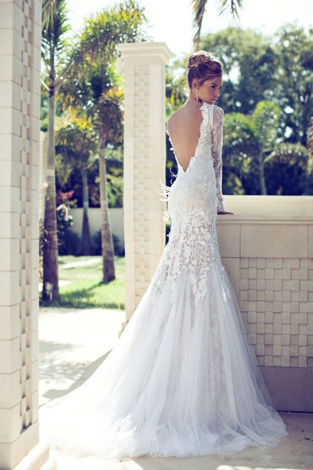 Gorgeous Stunning Backless Lace Detailing Long Sleeved Sleeves Trumpet Style Wedding Dress With Train Flattering Silhouettes Styles For Many Body