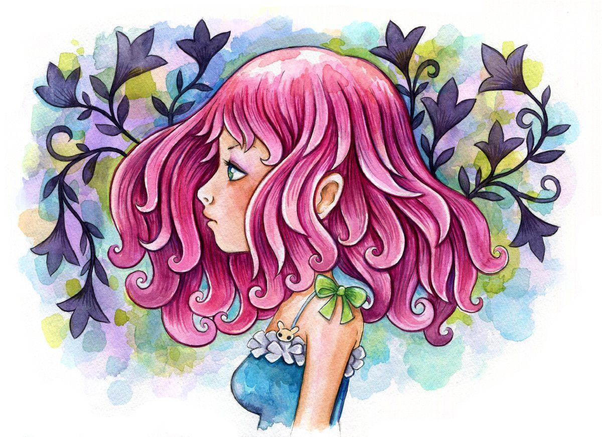 Pink Hair Watercolor Watercolor Girl Art Watercolor