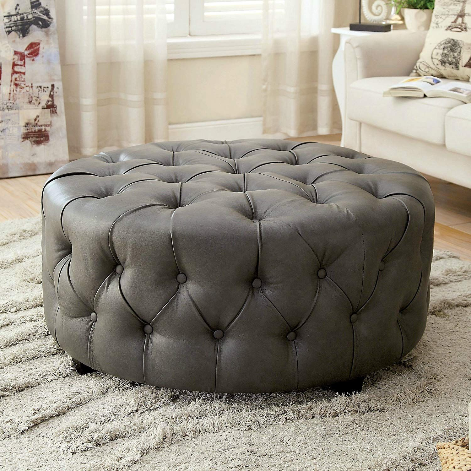 Tufted Round Leather Ottoman Large Grey Cocktail Modern Cocktail