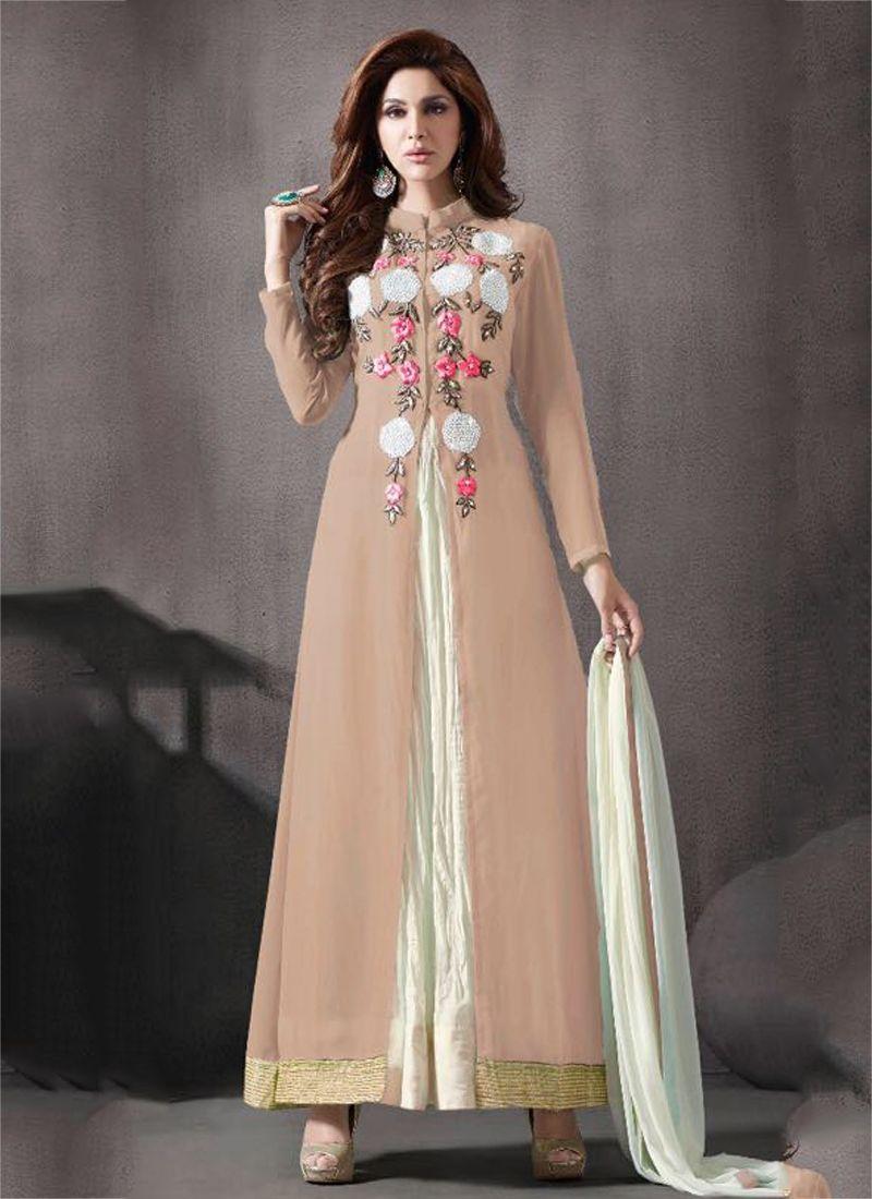 4ff8b0a088813 Buy Beige color georgette palazzo party wear anarkali salwar kameez ...