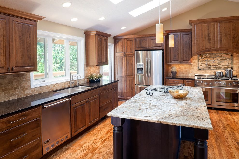 Kitchens With Cherry And Black Countertops