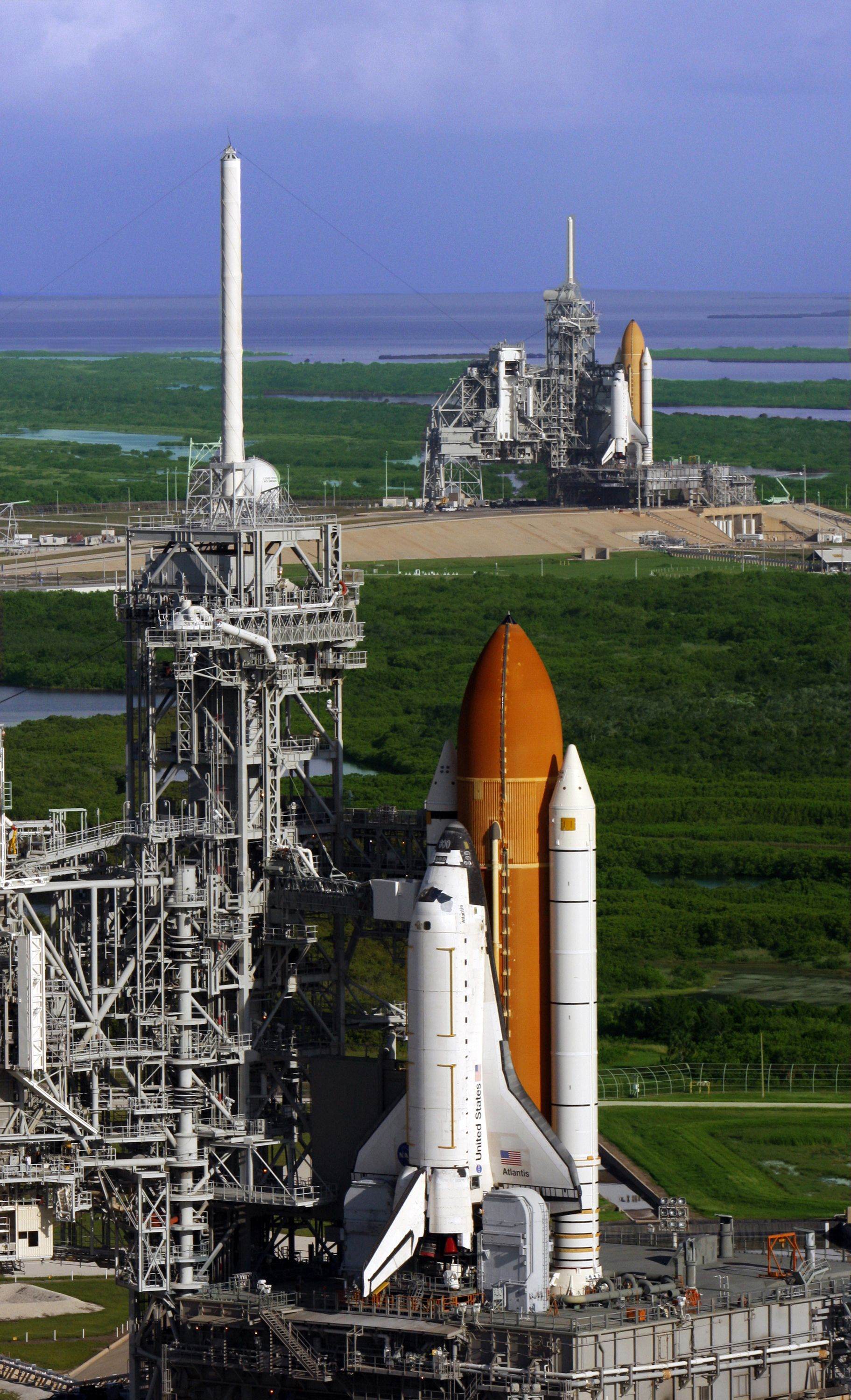 space shuttle atlantis in the front row kennedy space center in