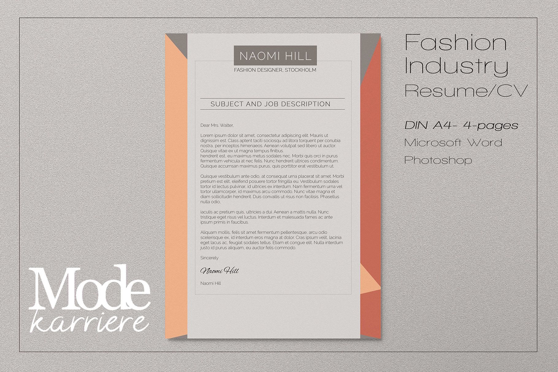 Cover letter Template - Fashion Design by Modekarriere ...