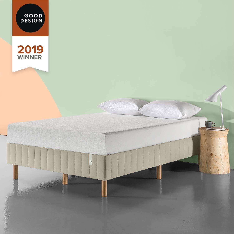 Zinus Justina Quick Snap Standing Mattress Foundation Platform Bed No Box Spring Needed Beige In 2020 Bed Frame And Headboard Platform Bed Mattress Foundations