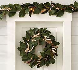 Ornament Pine Wreath & Garland – Gold & Silver #magnoliachristmasdecor